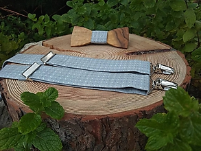 Doplnky - Pánsky drevený motýlik a traky - 10025609_
