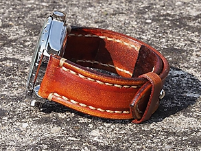 Náramky - Vintage kožený remienok 24mm, pravá koža - 10028721_