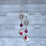 Keramické náušnice s ornamentom - prírodný kameň, striebro, ružová