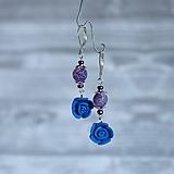 Ružičky polymér - náušnice, prírodný kameň onyx, tmavo modrá, fialová, striebro