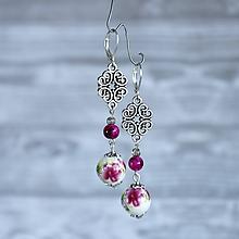 Náušnice - Keramické náušnice s ornamentom - prírodný kameň, striebro, ružová - 10025215_