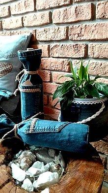 Iné tašky - obal na fľašu z recy džínsoviny - 10027434_