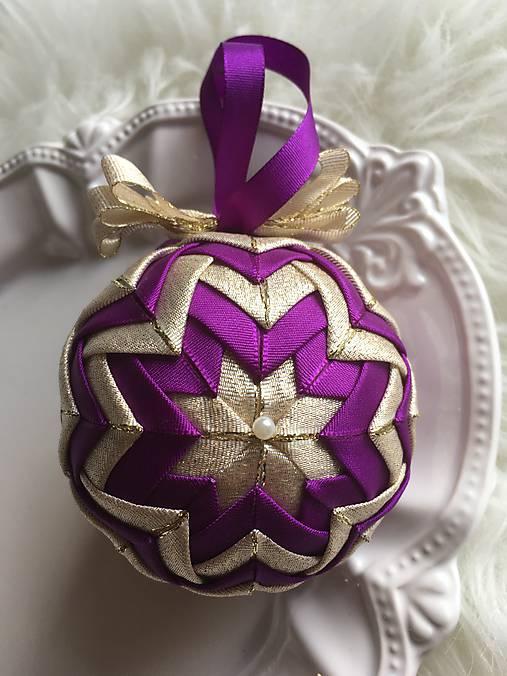 5e1ec2b6c Vianočné gule - falošný patchwork (fialová, zlatá) / silvi.k - SAShE ...