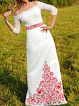 Sukne - Ručne maľovaná svadobná sukňa s opaskom... - 10025152_