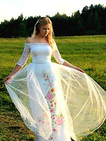 Sukne - Ručne maľovaná svadobná sukňa s opaskom a tylom... - 10026747_