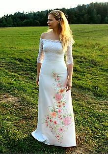 Sukne - Ručne maľovaná svadobná sukňa... - 10026825_