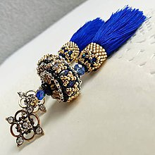 Náušnice - Strapcové náušnice modré - 10024907_
