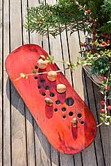 Nádoby - Misa červená - nízka s dierkami - 10025475_