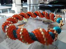 Náramky - Oranžovo - Tyrkysový - 10027129_