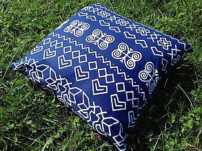 Úžitkový textil - obliečka na vankuš čičmany (Tmavomodré velký vzor) - 10032325_