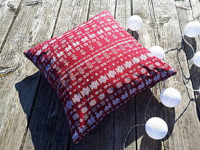Úžitkový textil - obliečka na vankuš čičmany (Bordové drobný vzor) - 10032331_