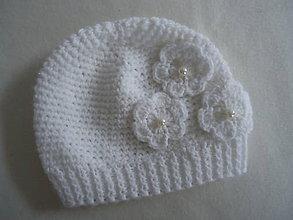 Detské čiapky - čiapočka  3 kvietky - 10031965_