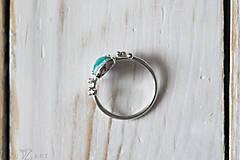 Prstene - Strieborný ligotavý prsteň s amazonitom - Bokeh Amazo - 10029711_