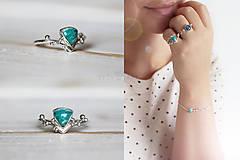 Prstene - Strieborný ligotavý prsteň s amazonitom - Bokeh Amazo - 10029713_