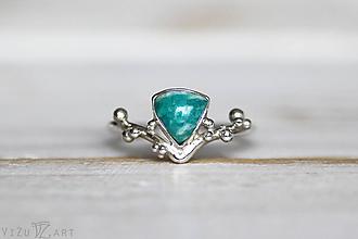 Prstene - Strieborný ligotavý prsteň s amazonitom - Bokeh Amazo - 10029710_
