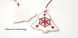 Galantéria - Drevený závesny výlisok - Zvonček biely- jednostranný - 10030732_