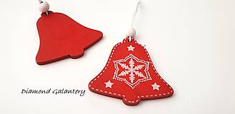 Galantéria - Drevený závesny výlisok - Zvonček červený- jednostranný - 10030749_