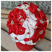 Dekorácie - Červená saténová ikebana - 10031818_