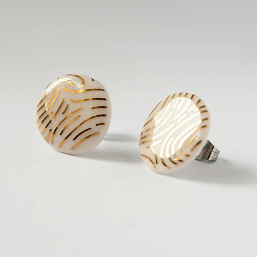 porcelánové náušnice | zlato, chirurgická oceľ