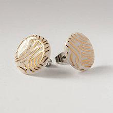 Náušnice - porcelánové náušnice | zlato, chirurgická oceľ - 10029514_