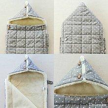 Textil - RUNO SHOP fusak pre deti do kočíka 100% ovčie runo MERINO TOP super wash Hviezdička šedá GREY - 10029277_