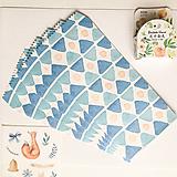 Papier - papierová obálka Modré trojuholníky - 10029044_