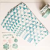 Papier - papierová obálka Tyrkysové trojuholníky - 10029055_