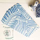 Papier - papierová obálka Modré pruhy - 10029066_