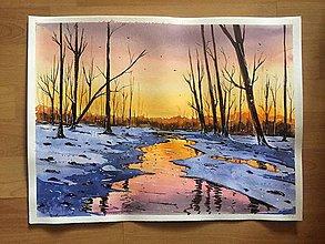 Obrazy - Západ slnka - akvarelová maľba, originálny obraz - 10029921_