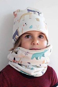 Detské súpravy - Detský setík čiapka+nákrčník naZIMU - 10031745_