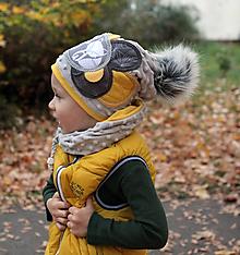 Detské čiapky - Hrejivý set s líškami - 10031772_