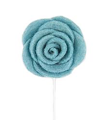 Šperky - Vlnená kvetina do klopy (tyrkysová) - 10030520_