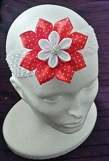 Detské doplnky - Bieločervená bodkovaná destká elastická čelenka - 10030350_