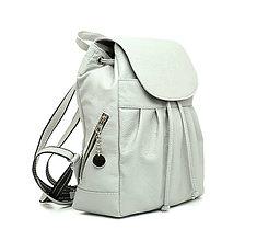 Batohy - Dámsky kožený módny ruksak z prírodnej kože v šedej farbe - 10029497_