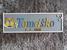 Dekorácie - Drevená tabuľka sovička k narodeniu dieťaťa s vlastným menom a dátumom OWL 3 - 10028989_