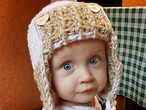 Detské čiapky - čiapka detská hačkovaná bielo - béžová - 10031294_