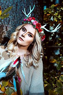 Ozdoby do vlasov - Prírodný venček s parožkami Halloween - 10032136_