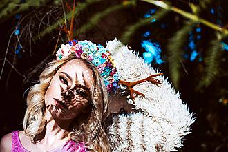 Ozdoby do vlasov - Kvetinová čelenka s parožkami Halloween - 10032485_