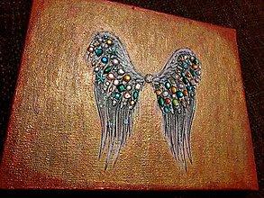 Obrazy - Žiarivé anjelské krídla - 10029870_