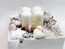 Dekorácie - Vintage adventná dekorácia púdrovoružová (Ružová) - 10032584_