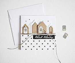 Papiernictvo - Vianočný pozdrav - domčeky hnedé - 10034969_