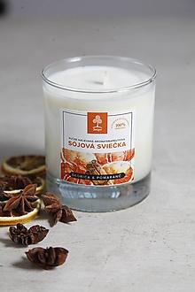 Svietidlá a sviečky - Aromaterapeutická sójová sviečka - Škorica a pomaranč - 10034224_