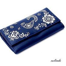 Peňaženky - Modrá peněženka s ptáčkem - 10033377_