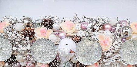 Dekorácie - vianočný veľký ružovkastý adventný svietnik - 10034740_