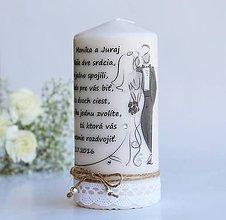 Darčeky pre svadobčanov - Dekoračná sviečka pre mladomanželov - 10035495_
