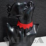 Náhrdelníky - CHOKER - náhrdelník - červený - srdce - 10033942_