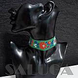 Náhrdelníky - CHOKER náhrdelník - folk - folklórny - zlený - 10033965_