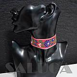 Náhrdelníky - CHOKER náhrdelník - folk - folklórny - červený - 10033967_