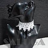 Náhrdelníky - CHOKER náhrdelník - biely - čipkovaný - folk - 10034020_