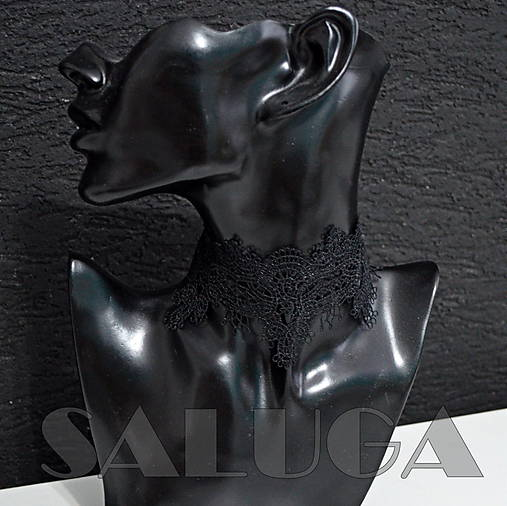 Choker - náhrdelník - čierny - paličkový